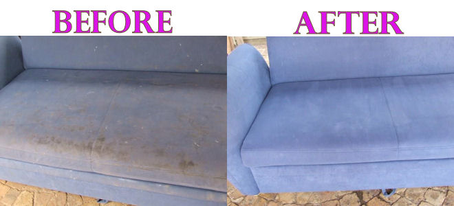 Recent Couch Cleaning In Sydney - Before Sofa was terribly Dirty and after Squeaky Clean